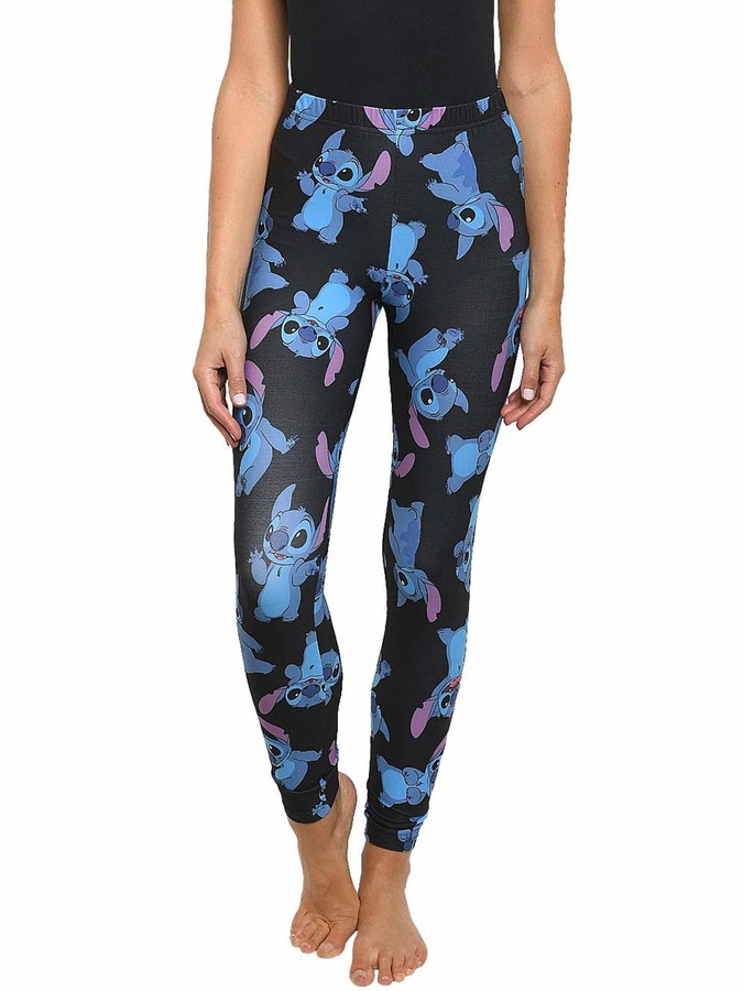 Disney Juniors Womens Leggings Stitch All Over Print Stretch (Black Large)