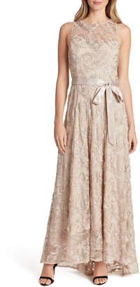 Tahari Soutache Sleeveless Tie Waist A-Line Gown