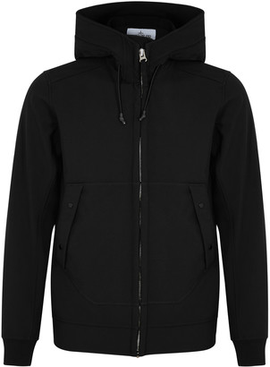 Stone Island Black hooded soft-shell jacket