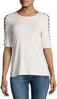 Neiman Marcus Half-Sleeve Scoop-Neck Top
