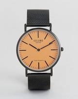 Reclaimed Vintage Inspired Black Mesh Watch With Orange Dial