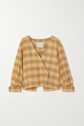 KING & TUCKFIELD Open-back Cropped Checked Linen Top - Yellow