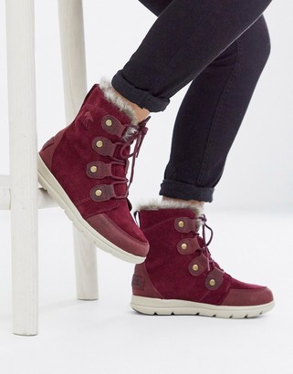 Sorel waterproof explorer lace up lined boot in red