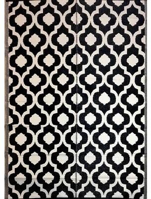 Charlton Home Alvar Geometric Black/White Area Rug