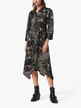 AllSaints Maia Assam Silk Blend Dress, Black