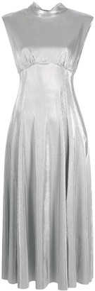 MSGM Tie-Collar Metallic Dress