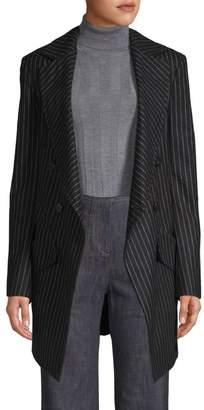 Derek Lam Long Double-Breased Pinstripe Blazer
