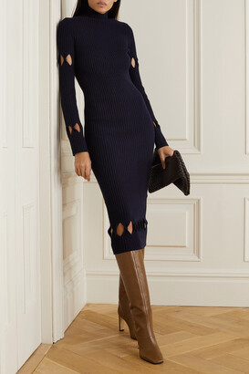 Victoria Beckham - Cutout Ribbed Wool-blend Turtleneck Midi Dress - Blue