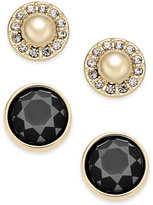 Charter Club Gold-Tone Imitation Pearl Pavé and Colored Stone 2-Pc. Set Stud Earrings, Only at Macy's