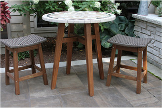 Outdoor Interiors 3 Pc Counter Height Marble Table