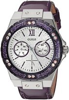 GUESS Women's U0775L6 Sporty Silver-Tone Stainless Steel Watch with Multi-function Dial and Purple Strap Buckle