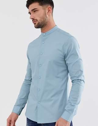 Asos Design DESIGN skinny fit grandad collar shirt in light blue