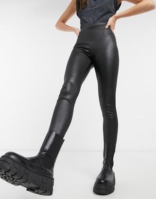 Topshop crocodile effect leather look leggings in black