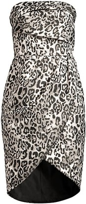 Black Halo Tamara Leopard Strapless Tulip Dress