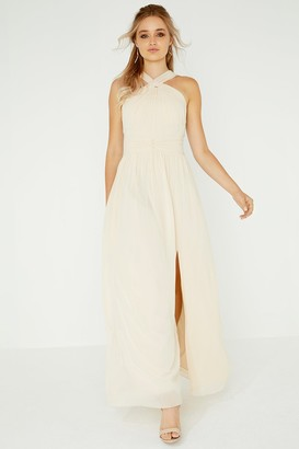 Little Mistress Libby Beige Twist Detail Maxi Dress