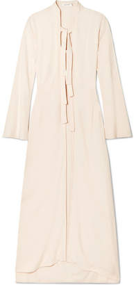 The Line By K - Landon Tie-detailed Crepe Coat - Cream