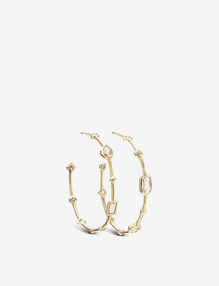 Kendra Scott Mei 14ct yellow-gold and gemstone hoop earrings