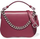 Calvin Klein Chain-trimmed Leather Shoulder Bag - Burgundy