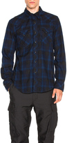 Engineered Garments Plaid Flannel Western Shirt in Dark Navy & Royal