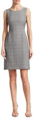 Akris Sleeveless Wool Silk Glen Check Sheath Dress