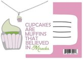 Quan Jewelry Cupcake Necklace for Bakers and Cupcake Lovers, Funny Quote Card, Perfect Christmas or Birthday Gift, Pun Greeting Cards