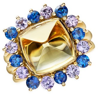 Temple St. Clair Dreamcatcher 18K Yellow Gold, Yellow Beryl & Mixed-Stone Sugar Loaf Ring