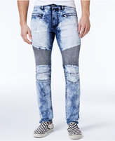 Reason Men's Slim-Fit Bleached Moto Jeans