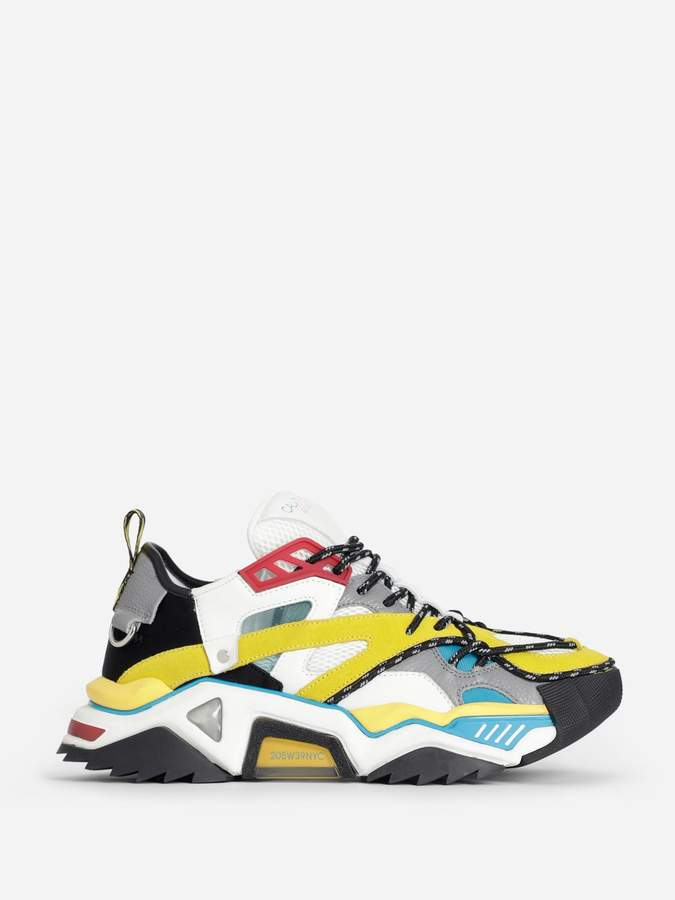 Calvin Klein MULTICOLOR STRIKE 205 GRAIN CALFSKIN SNEAKERS
