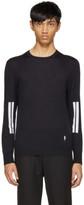 Neil Barrett Navy Double Line Sleeve Pullover