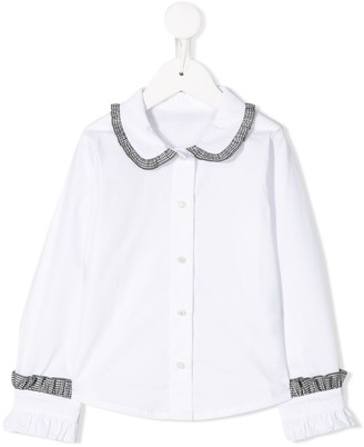 Lapin House ruffle trim Peter Pan collar shirt