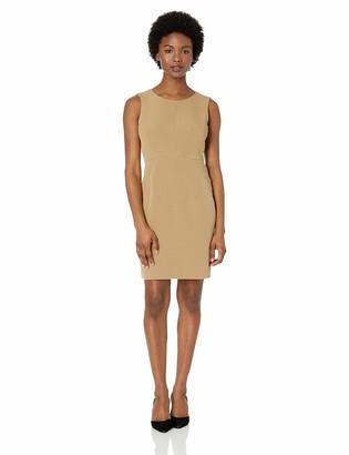 Kasper Women's Petite Jewel Neck Crepe Sheath Dress