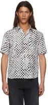 Saint Laurent Black and White Silk Checkerboard Shirt