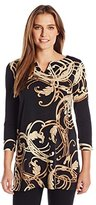 Rafaella Women's Misses Gold Foil Printed Tunic