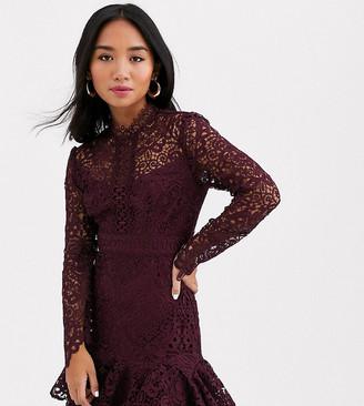 Forever New Petite flippy hem lace mini dress in plum