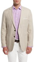 Peter Millar Two-Button Linen Soft Coat, Khaki