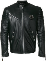 Philipp Plein band collar jacket - men - Lamb Skin/Acetate - M