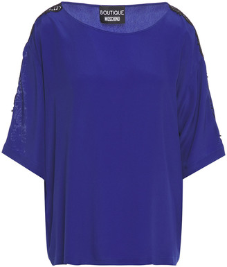 Boutique Moschino Guipure Lace And Crepe De Chine Top