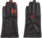 Aristide Black Leather Red Lips & Nails Gloves
