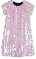 Billieblush Cap-Sleeve Sequined Shift Dress, Iridescent Silver, Size 4-8