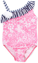 Flap Happy Hibiscus Heaven Ruffle Asymmetrical One-Piece - Toddler & Girls
