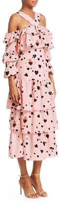 Borgo de Nor Sandra Heart Polka Dot Halter Tiered A-Line Dress