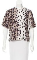 Preen Leopard Printed Silk Top