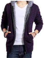 Elonglin Mens Thick knitting Cardigan Fleece Hooded Sweater Thermal Knitwear (Size CA/EU S = Asian L)