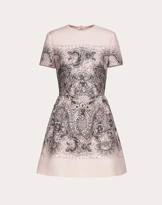 Valentino Lace Print Crepe Couture Dress Women Multicoloured 46