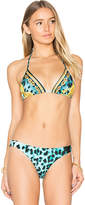 Sauvage Palazzo Triangle Bikini Top in Blue. - size L (also in M,S,XL)