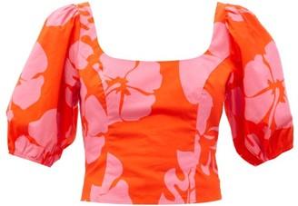 STAUD Papaya Hibiscus-print Cotton-blend Poplin Top - Red Print