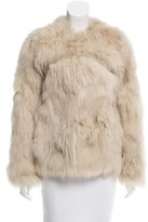 Maje Fox Fur Suede-Trimmed Jacket