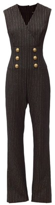 Balmain Crest Button Pinstriped Wool-blend Jumpsuit - Black Stripe