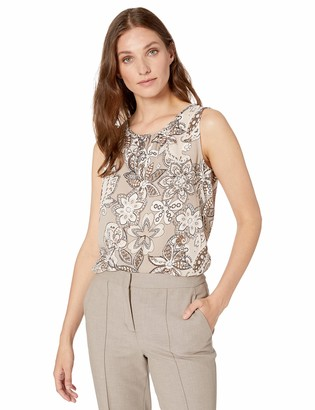 Nine West Women's Sleeveless U-Neck Paisley Printed Crepe Blouse