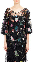 Valentino WOMEN'S BEADED TULLE PONCHO TOP-BLACK SIZE 10